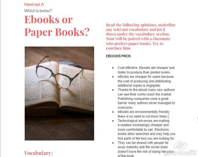 Exam blog de cristina give students in favour of ebooks handout a and give handout b to students who prefer paper books let them read it and comment it in their groups fandeluxe Choice Image