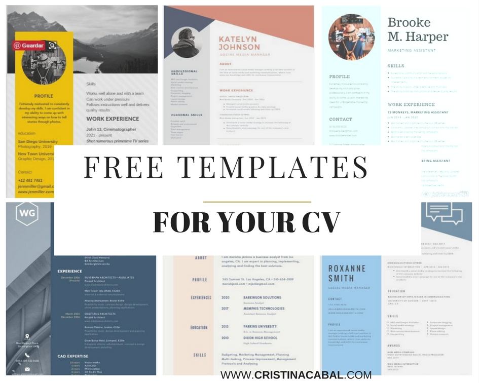 write your cv or resume with free editable templates